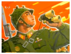 North Korean poster art depicting soldier in war