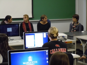 Russian journalists visit a journalism class at Marquette.