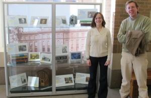 View of the Centennial of Journalism display at the Raynor Library