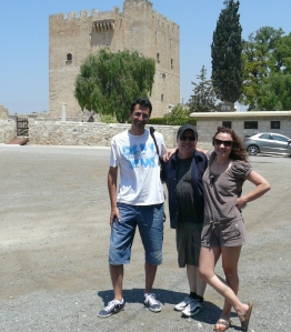 James Bailey with Cyprus hosts in front of Kolossi Castlen, Cyprus.