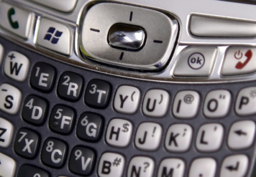 Photo of mobile device keyboard