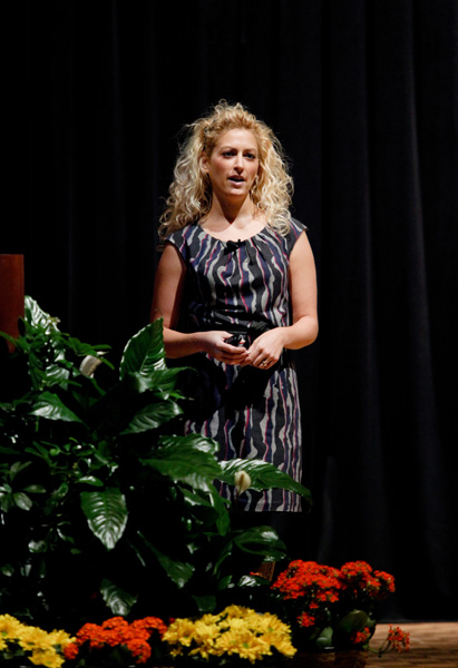 Jane McGonigal speaks to the crowd in Marquette University's Weasler Auditorium.